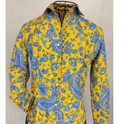 Chemisier Arlésienne classique bleu et jaune et son cachemire. Mariage parfait entre la provence et les indiennes. Poignets reve