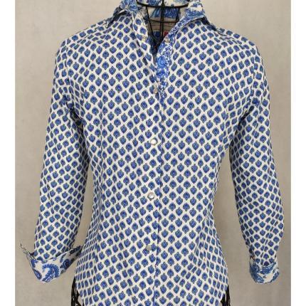 Chemisier de Provence classique lys blanc et bleu. Fabriqué à Arles. 100 % coton, lavable à 30°.